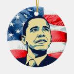 Barack Obama Double-Sided Ceramic Round Christmas Ornament