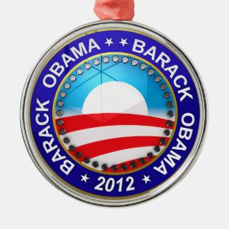 Barack Obama para el presidente 2012 Adorno Navideño Redondo De Metal