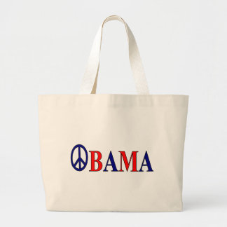 Barack Obama Peace Sign Large Tote Bag