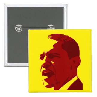 Barack Obama Portrait Button in Red on Yellow