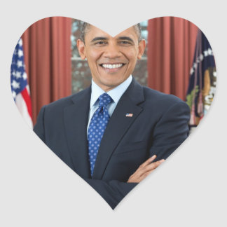 Barack Obama portrait Heart Sticker