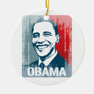 BARACK OBAMA POSTER Vintage.png Double-Sided Ceramic Round Christmas Ornament