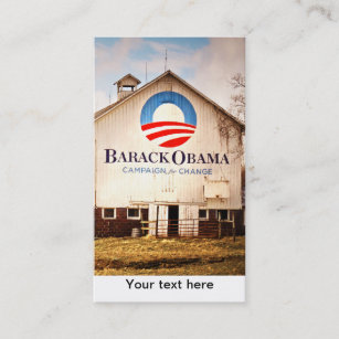 barack obama presidential campaign barn business card