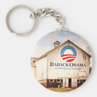 Barack Obama Presidential Campaign Barn Basic Round Button Keychain