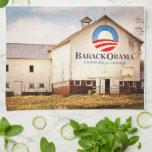 Barack Obama Presidential Campaign Barn Kitchen Towel