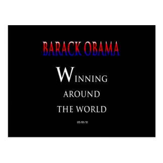 Barack Obama que gana en todo el mundo Postal
