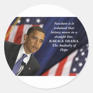 Barack Obama Quote on History Classic Round Sticker