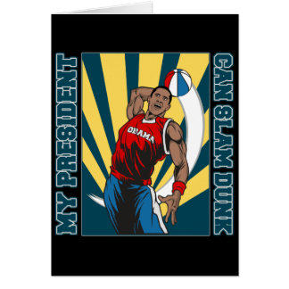 Barack Obama Slam Dunk Greeting Card