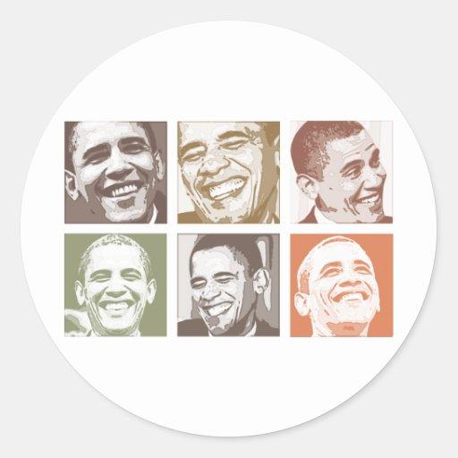 Barack Obama Smiles Round Stickers