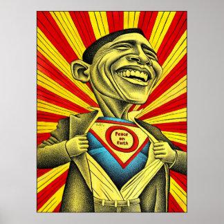 Barack Obama - superhombre Póster
