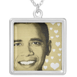 BARACK OBAMA SUPPORT SILVER PLATED NECKLACE