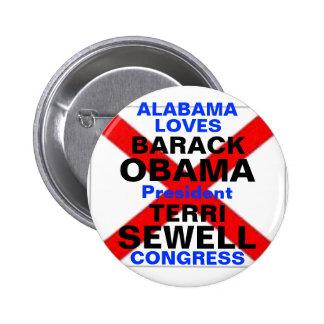 Barack Obama Terri Sewell 2012 Pin Redondo De 2 Pulgadas