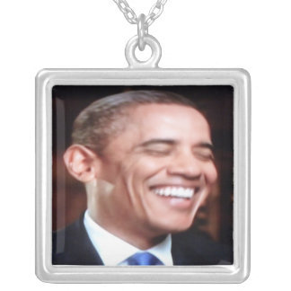 Barack Obama The People's President - 3D in Motion Square Pendant Necklace