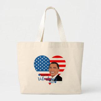 barack obama valentine large tote bag