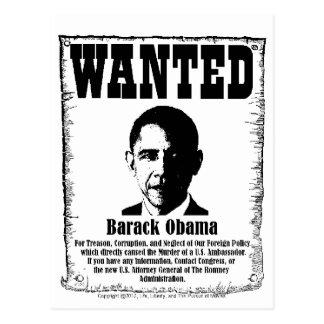 Barack Obama Wanted Poster Postcard