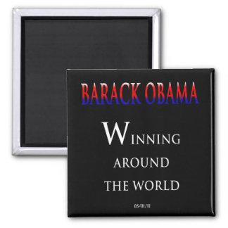 Barack  Obama Winning Around the World 2 Inch Square Magnet