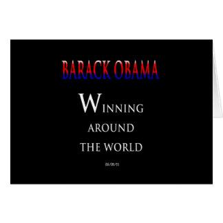 Barack  Obama Winning Around the World Greeting Cards