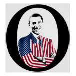 Barack Obama with an American Flag Jacket Posters