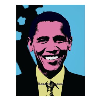 Barack Obama with Andy Warhol Pop Art Style Poster