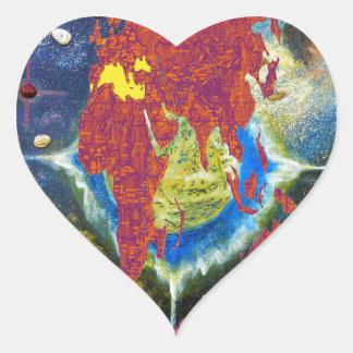 Barack Obama World Map Heart Sticker