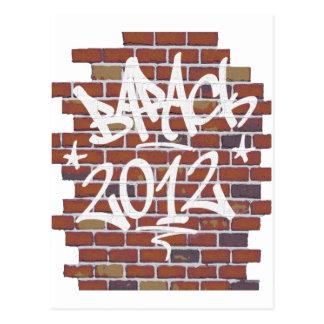 Barack Obama writing on the wall Grafitti Postcard