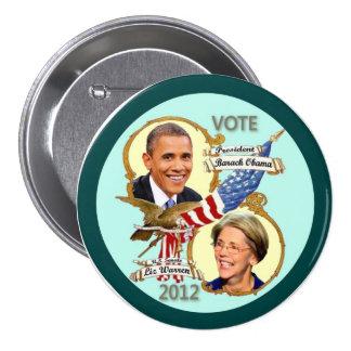 Barack Obama y Elizabeth Warren 2012 Pin Redondo De 3 Pulgadas