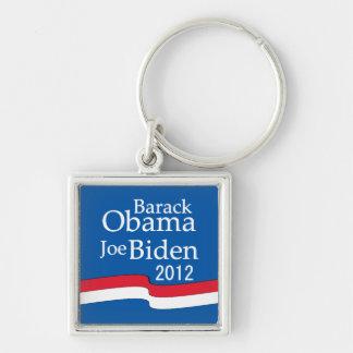 Barack Obama y Joe Biden Llavero Cuadrado Plateado