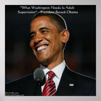 Barack Obama y poster de la cita del humor
