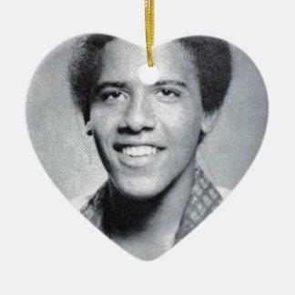 Barack Obama Yearbook Photo Ceramic Ornament
