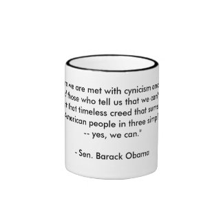 "Barack Obama's ""Yes We Can"" Speech Cup Coffee Mug"