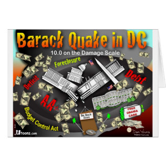Barack Quake Rocks DC Greeting Card