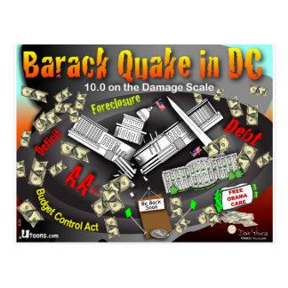 Barack Quake Rocks DC Postcard