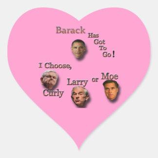 Barack tiene que ir elige el brn rizado de Larry o Pegatina En Forma De Corazón