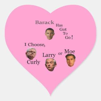 Barack tiene que ir elige Larry o a Moe rizado Pegatina En Forma De Corazón