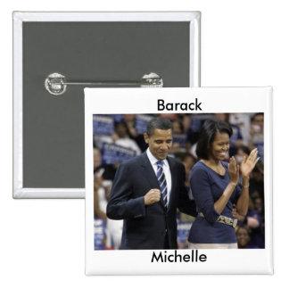 Barack y botón de Michelle Obama