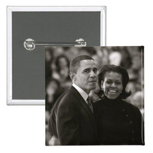 Barack y botón de Michelle Obama Pin Cuadrado