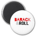 Barack y camiseta del rollo imanes para frigoríficos