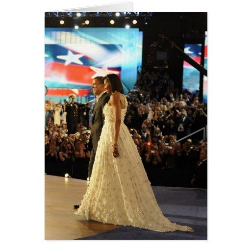 Barack y Micaela Obama Tarjeton