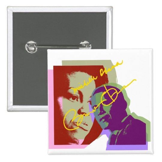 Barack y Michelle de Obama Pin Cuadrado
