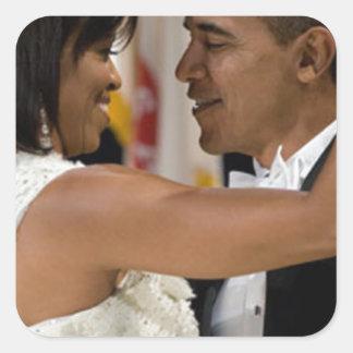 Barack y Michelle Obama Pegatina Cuadrada