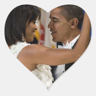 Barack y Michelle Obama Pegatina En Forma De Corazón