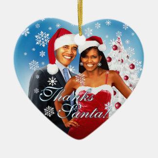 Barack y ornamento del navidad de Michelle Obama Adorno Navideño De Cerámica En Forma De Corazón