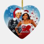Barack y ornamento del navidad de Michelle Obama Adorno De Cerámica En Forma De Corazón
