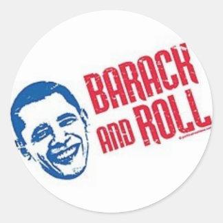 Barack y rollo pegatina redonda