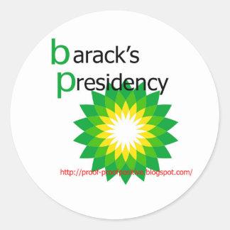 barack's-presidency classic round sticker