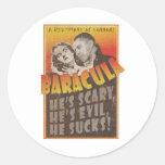 Baracula - cartel de película de Barack Obama Pegatina Redonda