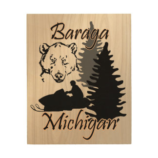 Baraga Michigan Snowmobile Bear Wood Art