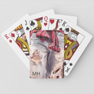 Baraja de encargo del monograma rasgado de los barajas de cartas
