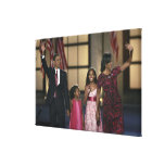 Barak Obama family wave at the last night of Canvas Print