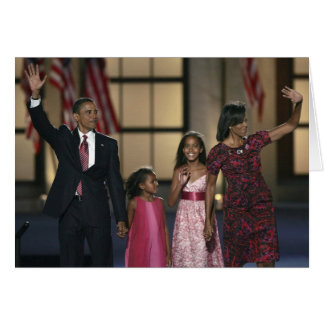 Barak Obama family wave at the last night of Card